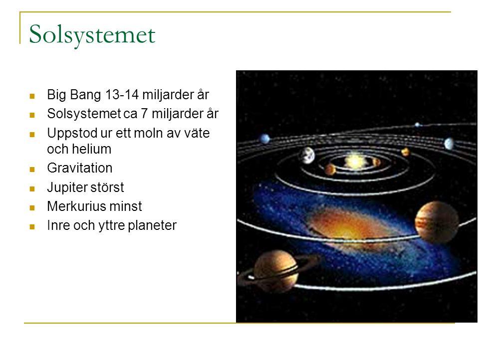 Solsystemet Big Bang 13-14 miljarder år Solsystemet ca 7 miljarder år Uppstod ur ett moln av väte och helium Gravitation Jupiter störst Merkurius minst Inre och yttre planeter