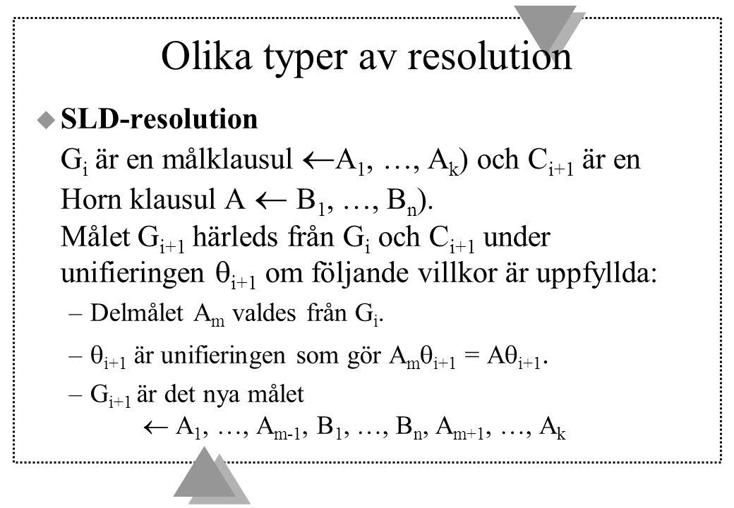 Olika typer av resolution u SLD-resolution G i är en målklausul  A 1, …, A k ) och C i+1 är en Horn klausul A  B 1, …, B n ).