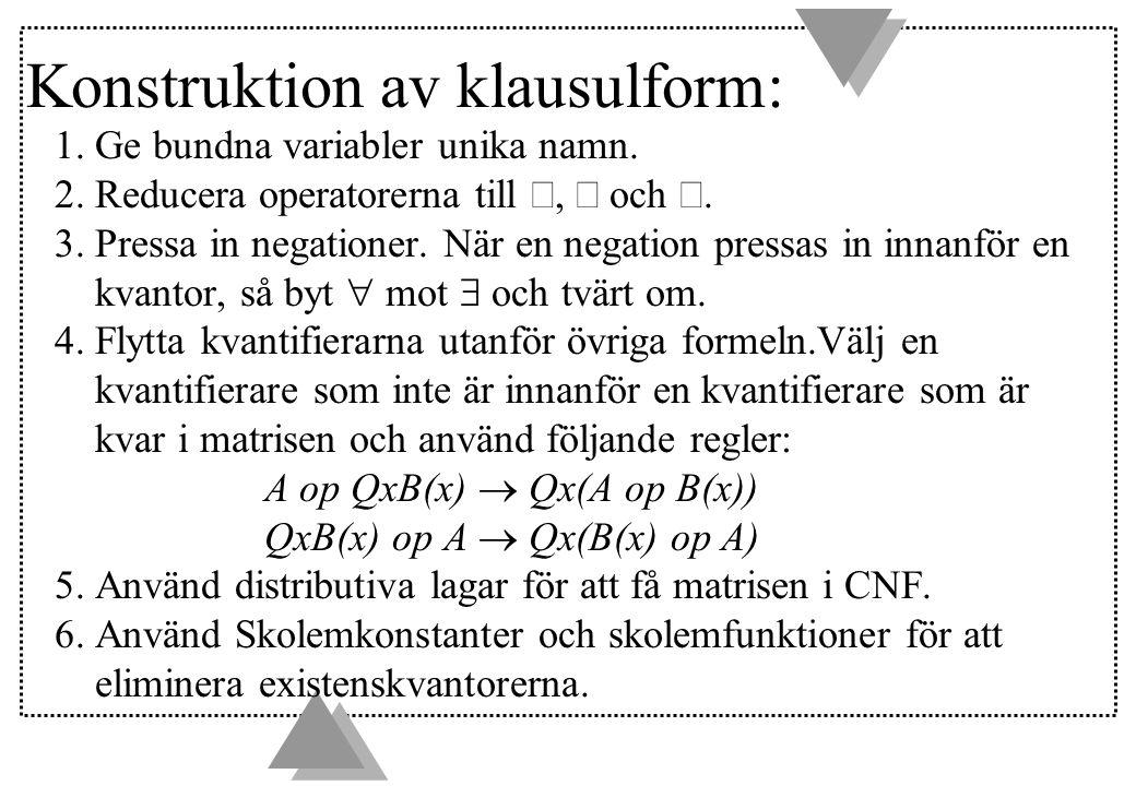 Konstruktion av klausulform: 1. Ge bundna variabler unika namn.