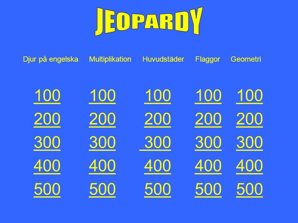 Djur på engelska Multiplikation Huvudstäder Flaggor Geometri 100 100 100 100 100 100 200 200 200 200 200 200 300 300 300 300 300 300 300 400 400 400 4