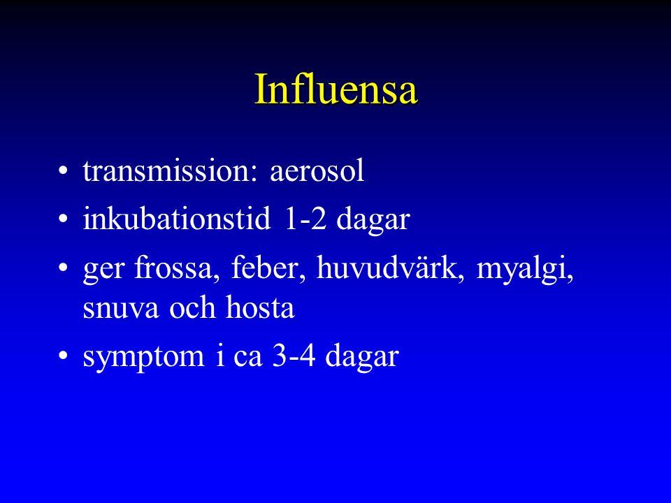 Influensa transmission: aerosol inkubationstid 1-2 dagar ger frossa, feber, huvudvärk, myalgi, snuva och hosta symptom i ca 3-4 dagar