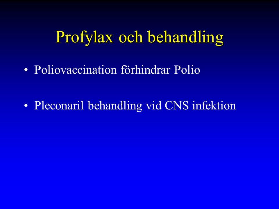 Profylax och behandling Poliovaccination förhindrar Polio Pleconaril behandling vid CNS infektion