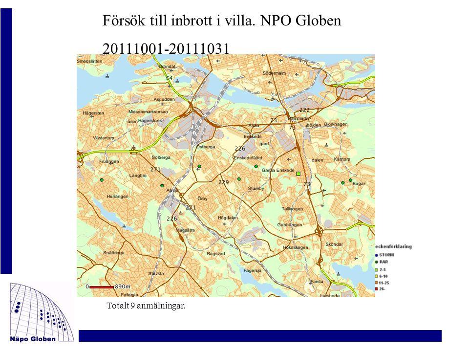 Försök till inbrott i villa. NPO Globen 20111001-20111031 Totalt 9 anmälningar.