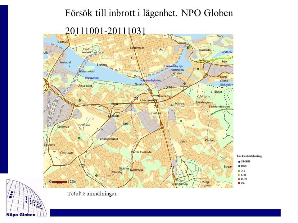 Försök till inbrott i lägenhet. NPO Globen 20111001-20111031 Totalt 8 anmälningar.