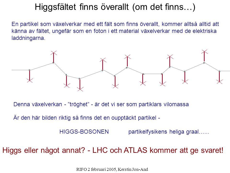 RIFO 2 februari 2005, Kerstin Jon-And Enligt Big-Bang teorin skapades universum symmetriskt - lika mycket materia som antimateria Universum tycks nu innehålla bara materia.