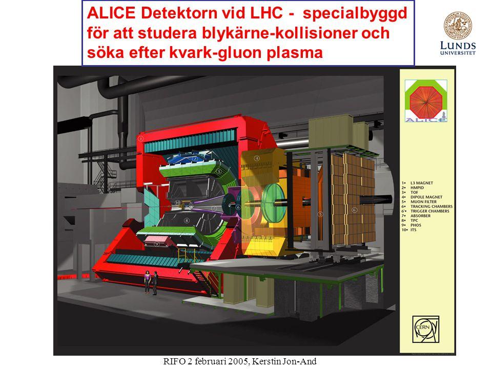 RIFO 2 februari 2005, Kerstin Jon-And ALICE Detektorn vid LHC - specialbyggd för att studera blykärne-kollisioner och söka efter kvark-gluon plasma