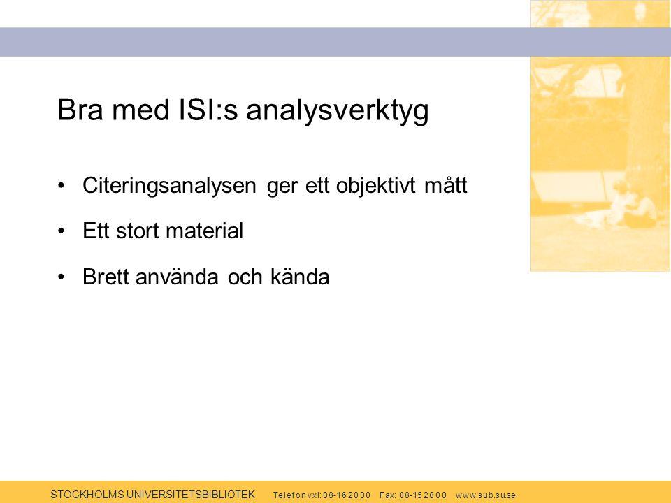 STOCKHOLMS UNIVERSITETSBIBLIOTEK Te l e f o n v x l: 0 8-1 6 2 0 0 0 F ax: 0 8-15 2 8 0 0 w w w.s u b.s u.se Bra med ISI:s analysverktyg Citeringsanal