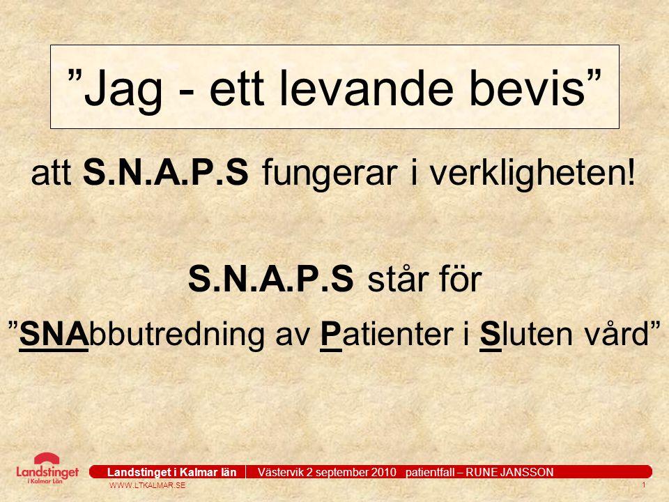WWW.LTKALMAR.SE Landstinget i Kalmar län Västervik 2 september 2010 patientfall – RUNE JANSSON 2 MITT TIDSSCHEMA 26/4 2007 29/4 4/5 15/5 16/5 Röntgen remiss kallelse coloscopi skiktröntgen utredning.