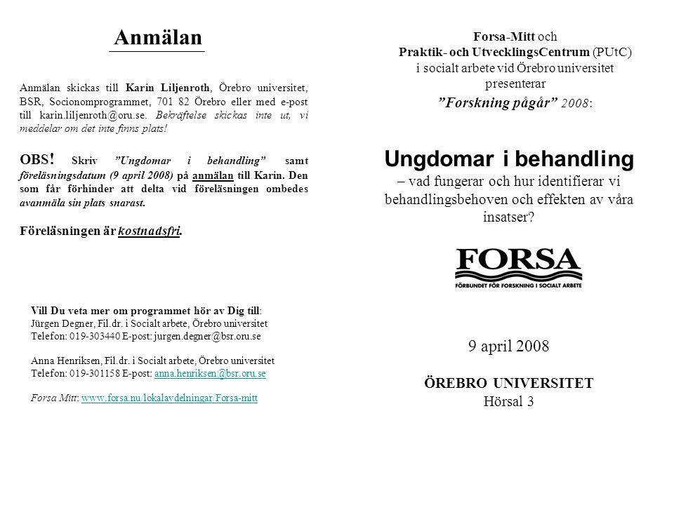 InnehållProgram 8.30-8.45 Välkomstord av Åsa Källström Cater, ordförande i Forsa Mitt, Camilla Fridström, PUtC-ansvarig.