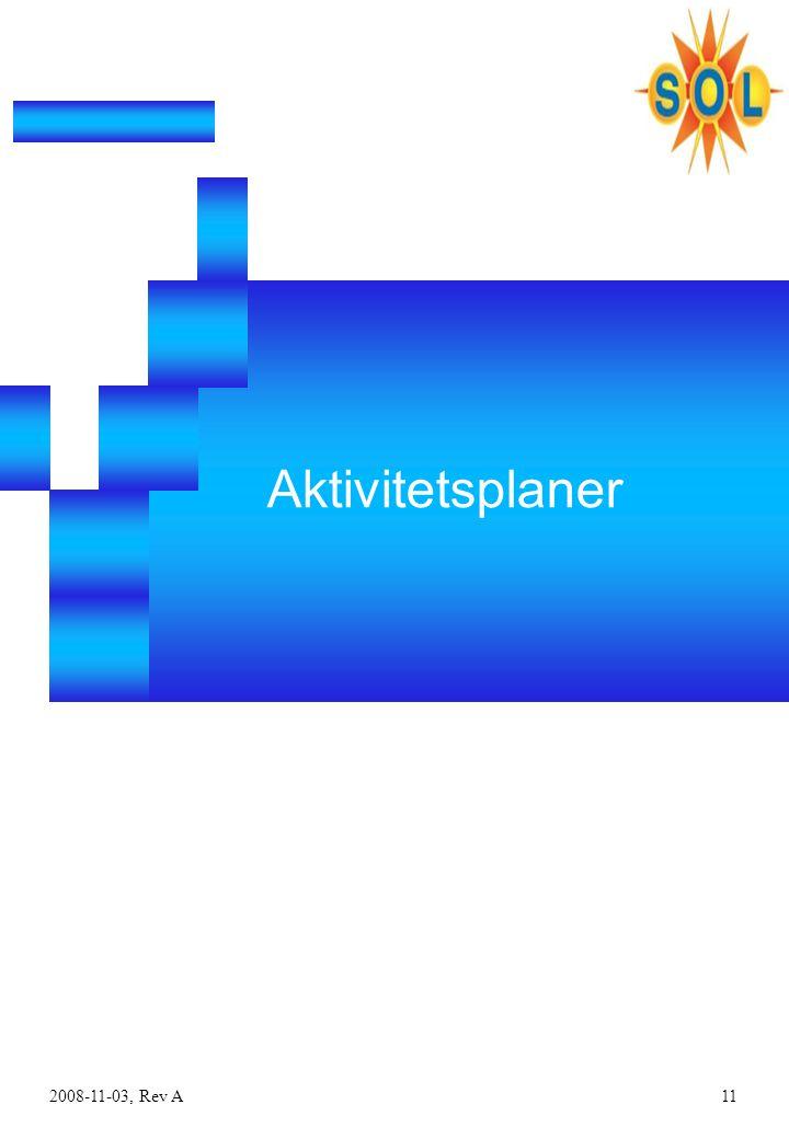 2008-11-03, Rev A11 Aktivitetsplaner