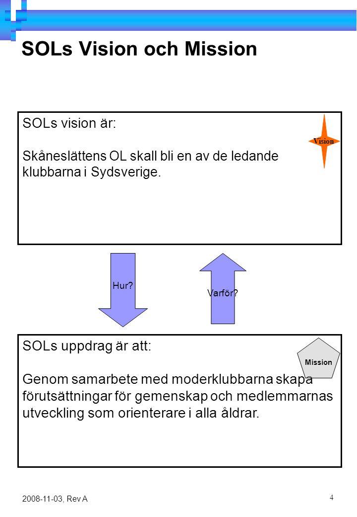 4 2008-11-03, Rev A SOLs Vision och Mission SOLs uppdrag är att: Genom samarbete med moderklubbarna skapa förutsättningar för gemenskap och medlemmarnas utveckling som orienterare i alla åldrar.