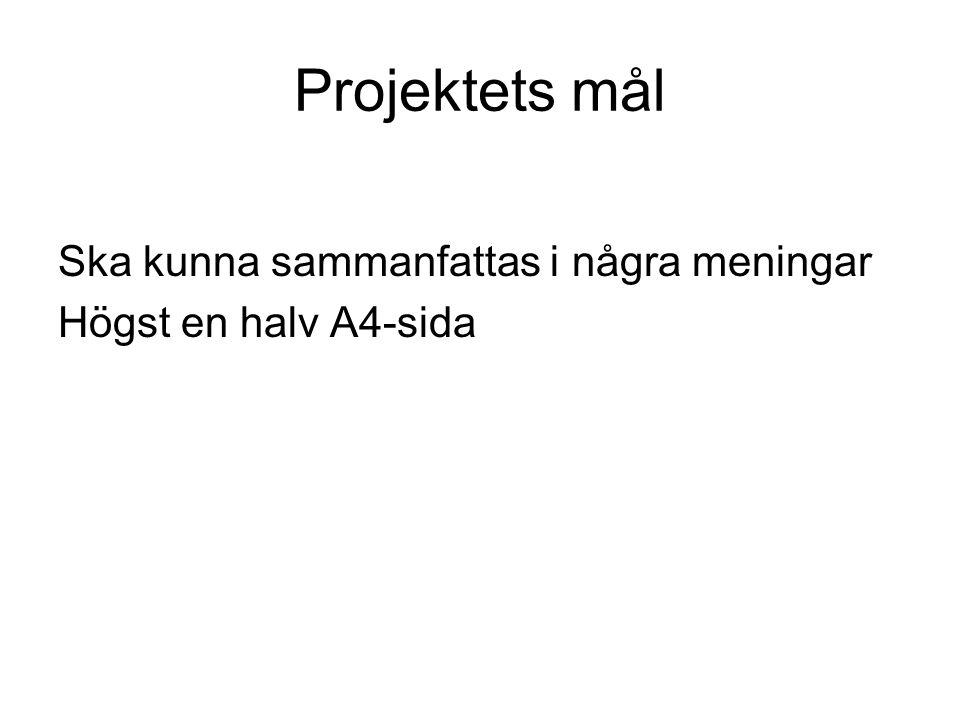 Projektets mål Ska kunna sammanfattas i några meningar Högst en halv A4-sida