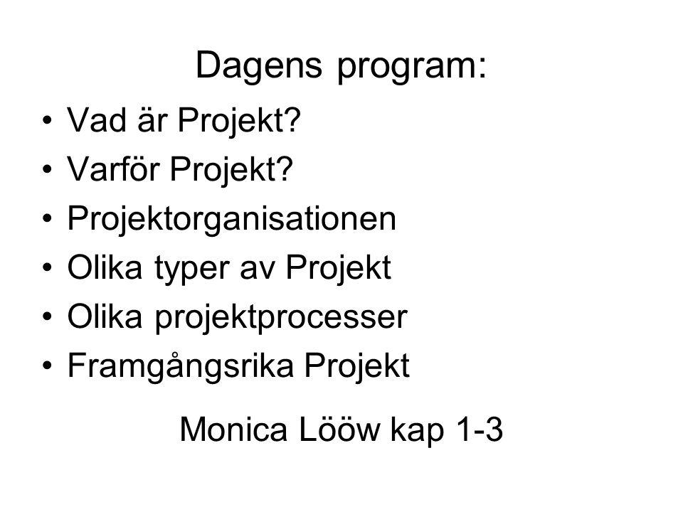 Dagens program: Vad är Projekt.Varför Projekt.