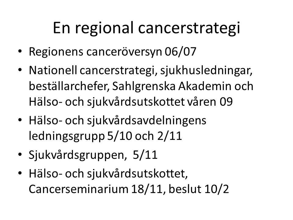En nationell cancerstrategi Tre fokusområden Medborgarperspektiv (prevention, vaccination) Patientperspektiv (processer, patientfokusering, palliation) Kunskapsbildning/kunskapsspridning (samverkan mellan sjukhusen och akademin)
