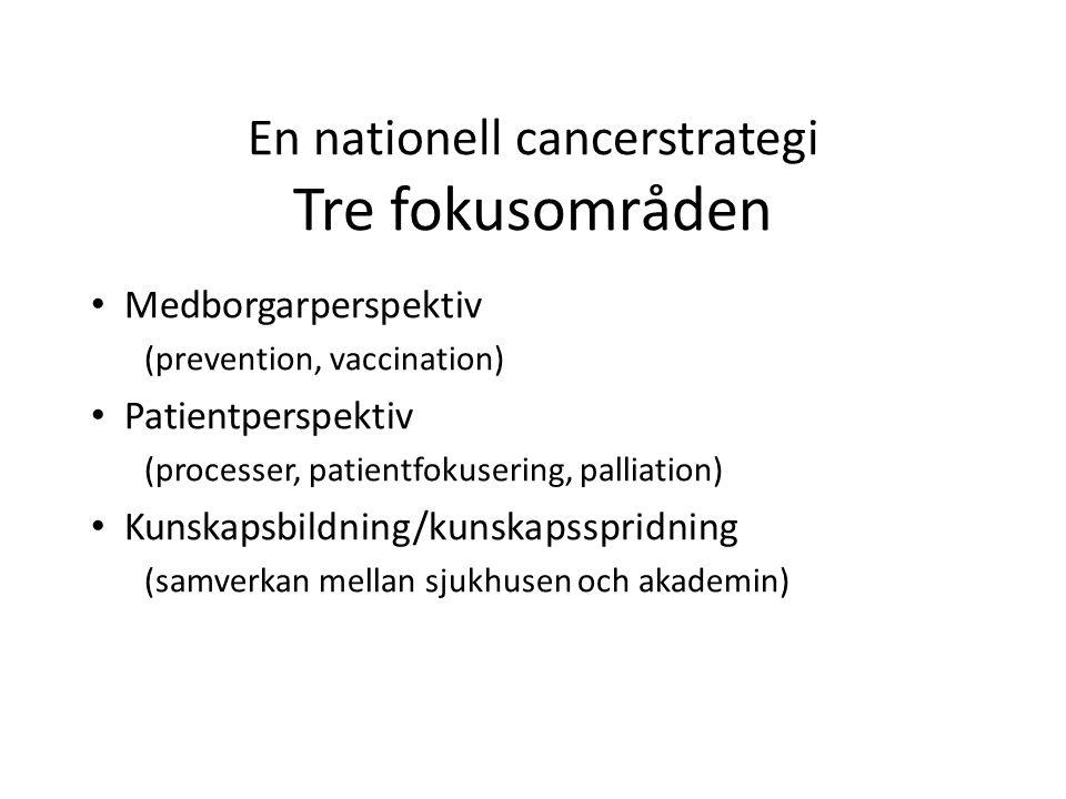 En regional cancerstrategi Patientfokuserad cancervård Utveckla existerande nätverksstrukturer regionalt och nationellt (vårdprogram och kvalitetsregister) Uppdrag som regional processägare Fortsatt arbete med primär prevention, palliativ vård och kompetensförsörjning Försöksverksamhet för canceröverlevare