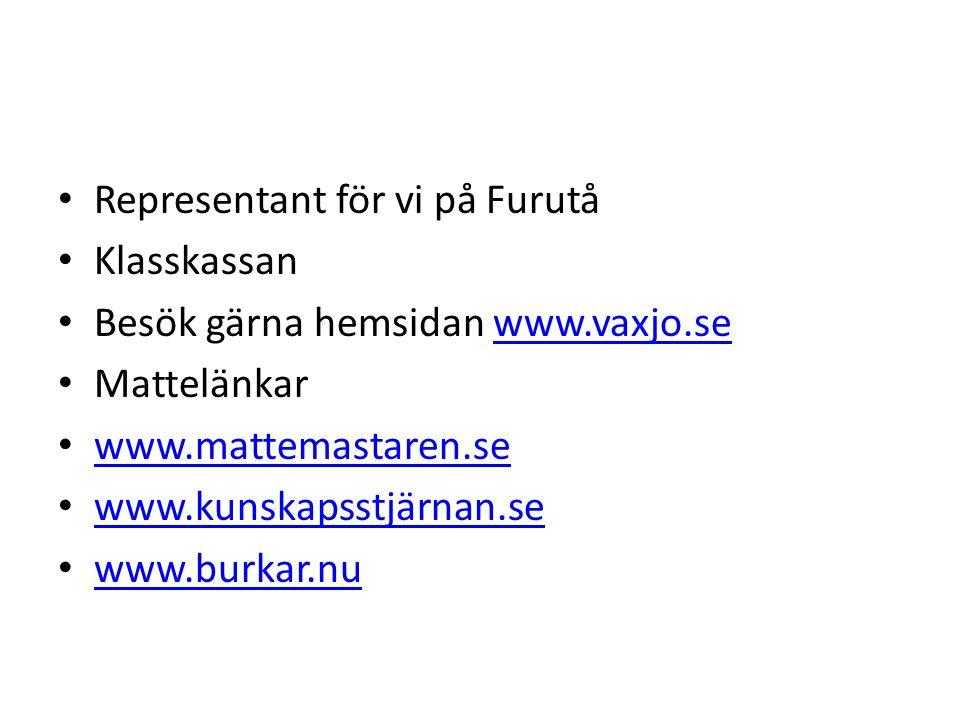 Representant för vi på Furutå Klasskassan Besök gärna hemsidan www.vaxjo.sewww.vaxjo.se Mattelänkar www.mattemastaren.se www.kunskapsstjärnan.se www.b