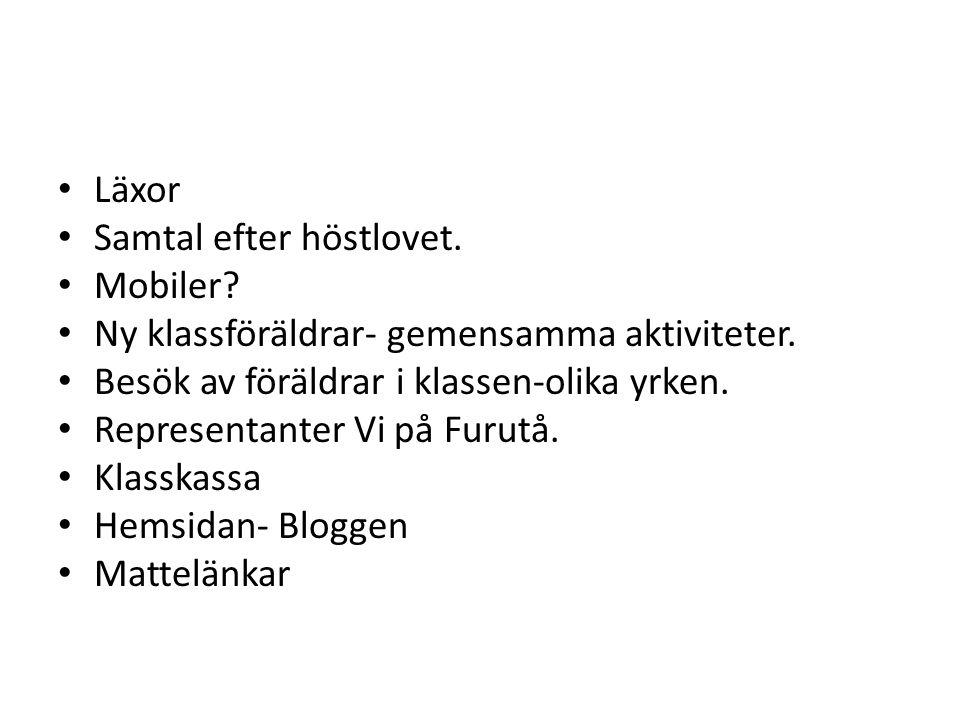 Klassföräldrar ht 2012 Föräldrar till: Emelie H Ebba Tamim Karl