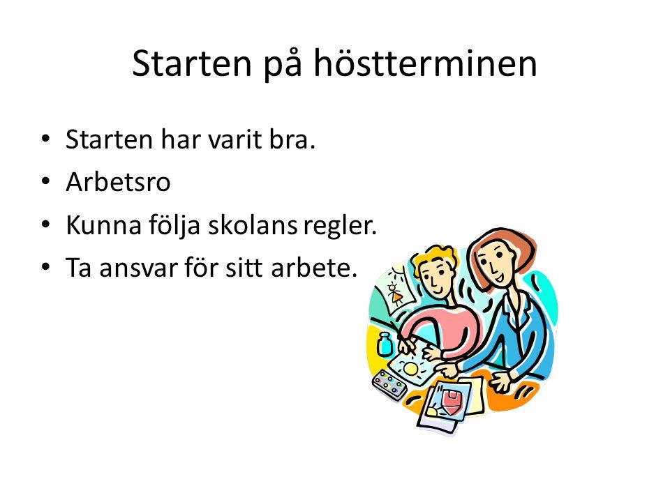 Starten på höstterminen Starten har varit bra. Arbetsro Kunna följa skolans regler. Ta ansvar för sitt arbete.
