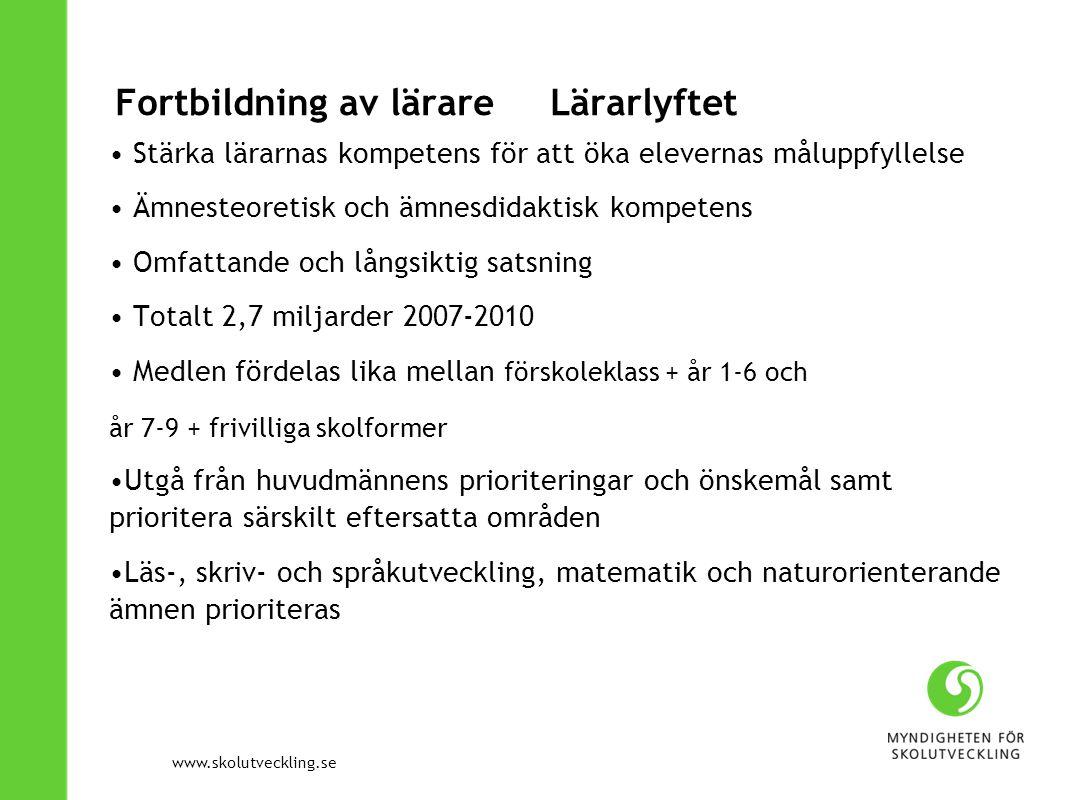 www.skolutveckling.se Fortbildning av lärare Lärarlyftet Stärka lärarnas kompetens för att öka elevernas måluppfyllelse Ämnesteoretisk och ämnesdidakt