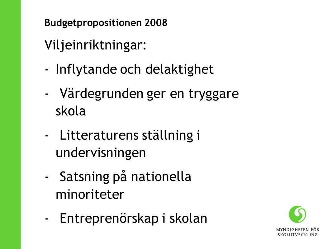 Budgetpropositionen 2008 Viljeinriktningar: -Inflytande och delaktighet - Värdegrunden ger en tryggare skola - Litteraturens ställning i undervisningen - Satsning på nationella minoriteter - Entreprenörskap i skolan