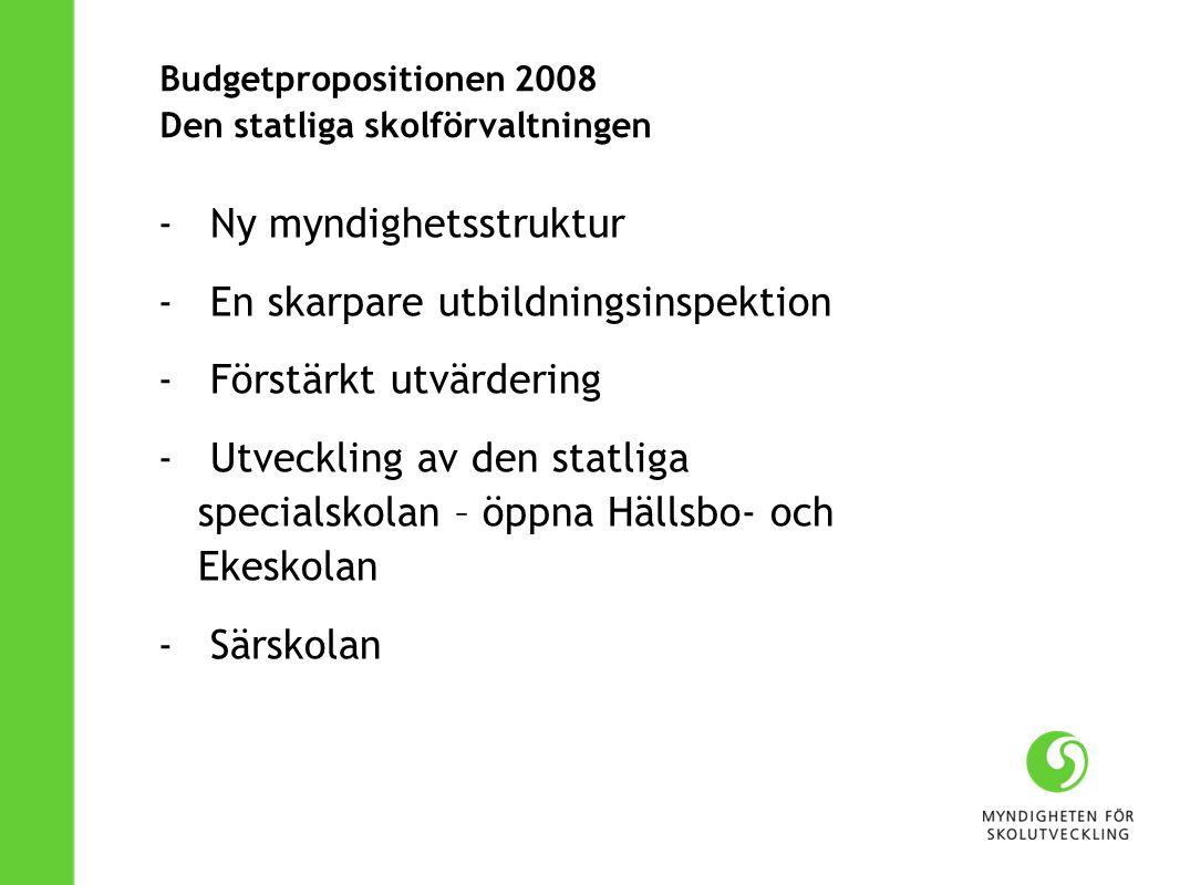 Budgetpropositionen 2008 Den statliga skolförvaltningen - Ny myndighetsstruktur - En skarpare utbildningsinspektion - Förstärkt utvärdering - Utveckling av den statliga specialskolan – öppna Hällsbo- och Ekeskolan - Särskolan