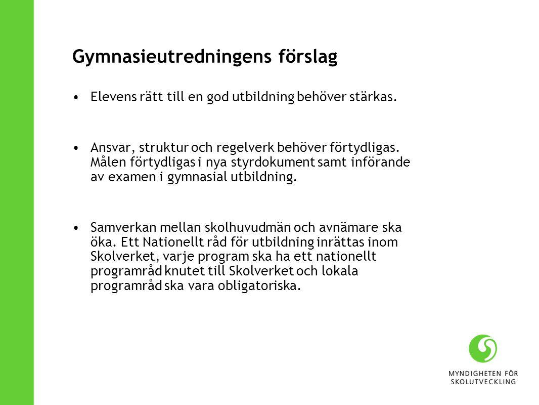 Gymnasieutredningens förslag Elevens rätt till en god utbildning behöver stärkas.
