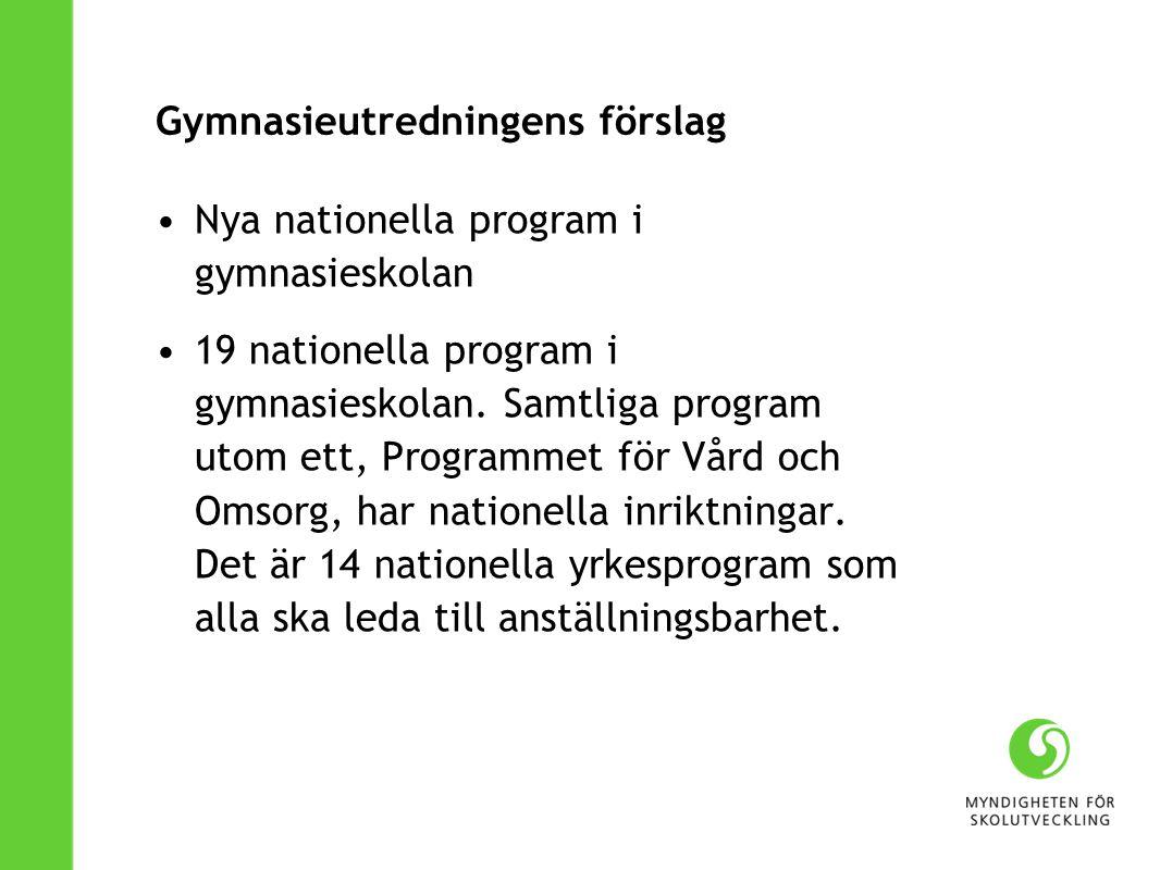 Gymnasieutredningens förslag Nya nationella program i gymnasieskolan 19 nationella program i gymnasieskolan. Samtliga program utom ett, Programmet för