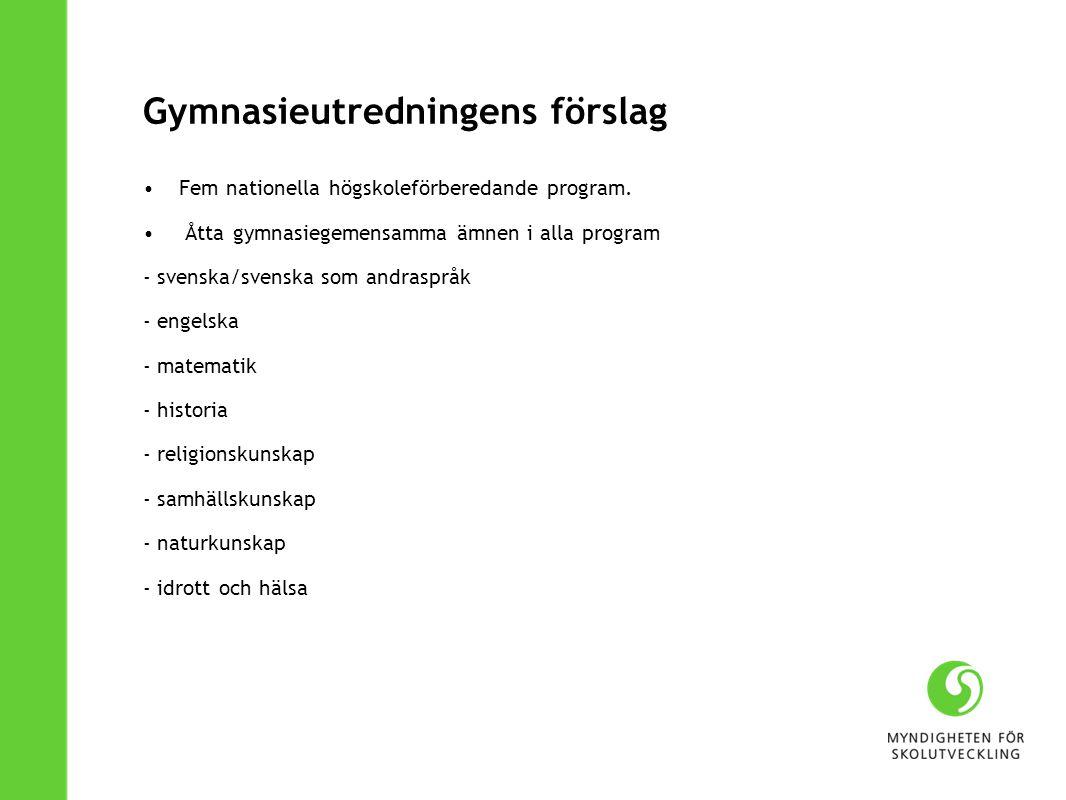 Gymnasieutredningens förslag Fem nationella högskoleförberedande program. Åtta gymnasiegemensamma ämnen i alla program - svenska/svenska som andrasprå