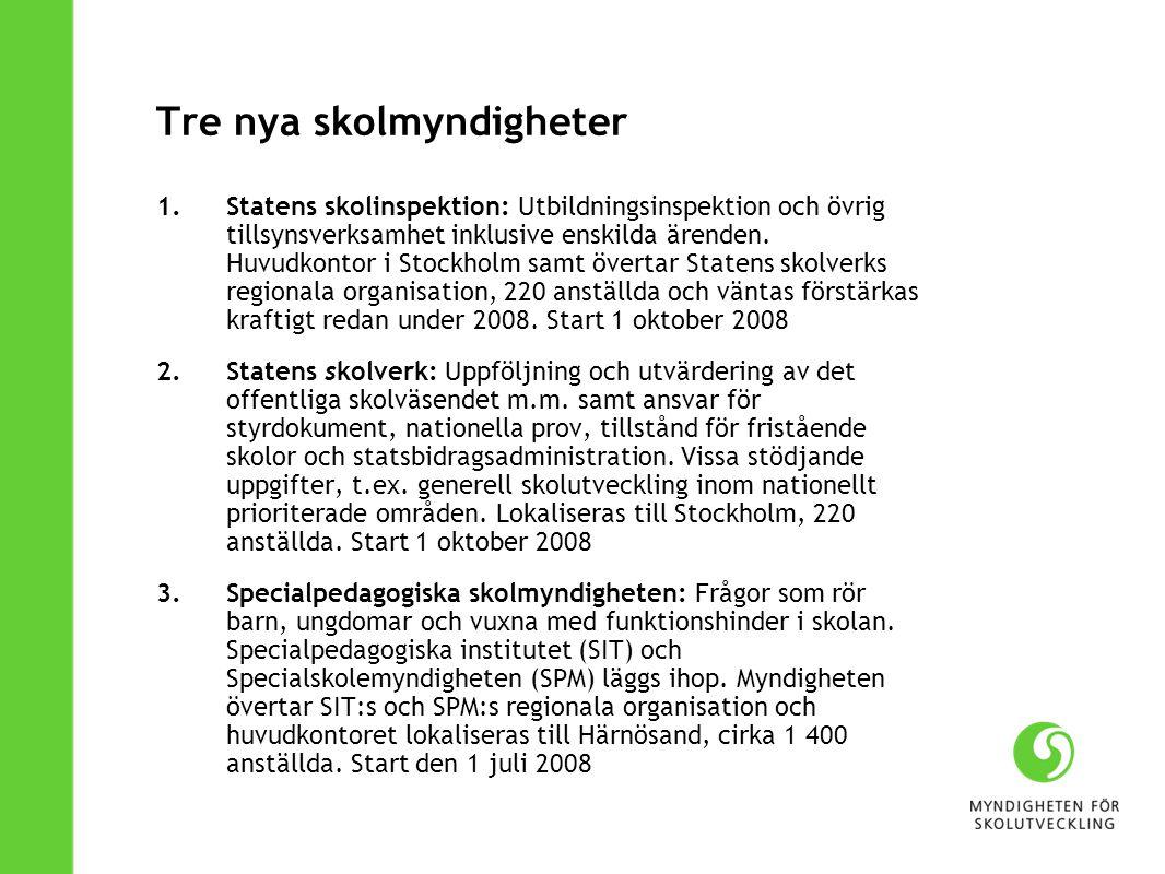 Tre nya skolmyndigheter 1.Statens skolinspektion: Utbildningsinspektion och övrig tillsynsverksamhet inklusive enskilda ärenden. Huvudkontor i Stockho