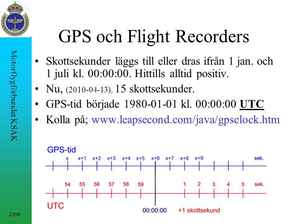 2008 Motorflygförbundet KSAK GPS och Flight Recorders Skottsekunder läggs till eller dras ifrån 1 jan. och 1 juli kl. 00:00:00. Hittills alltid positi