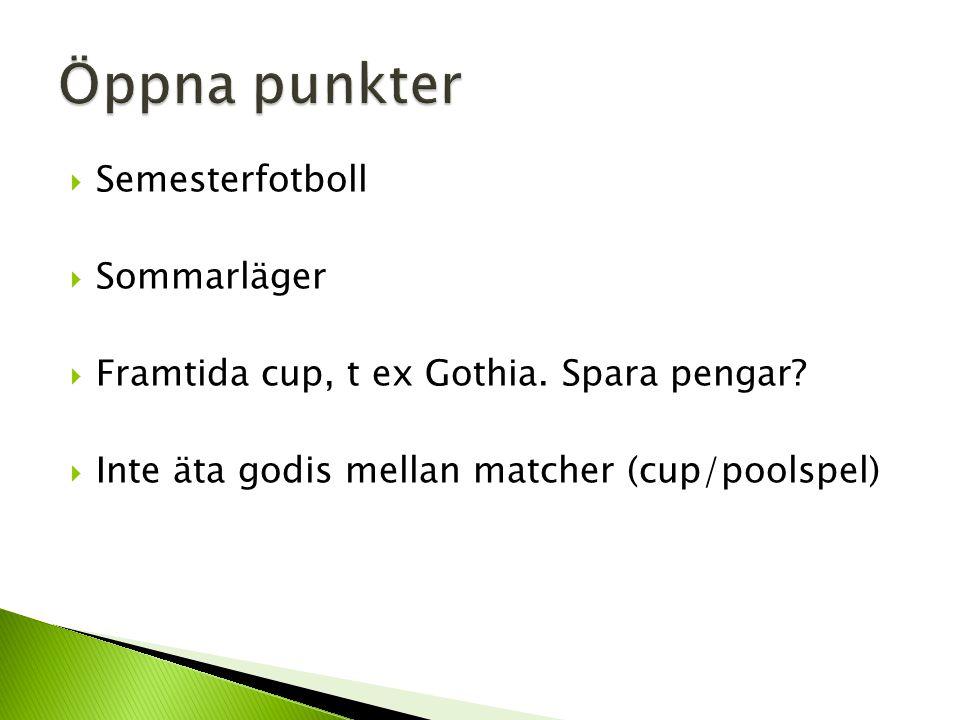  Semesterfotboll  Sommarläger  Framtida cup, t ex Gothia.