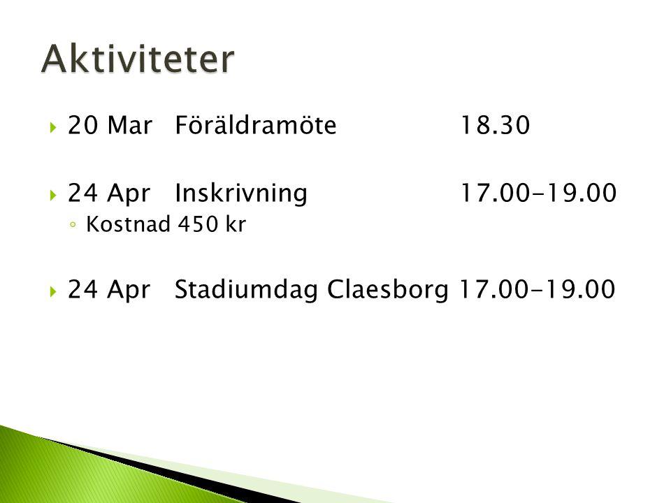  20 MarFöräldramöte 18.30  24 AprInskrivning 17.00-19.00 ◦ Kostnad 450 kr  24 AprStadiumdag Claesborg 17.00-19.00