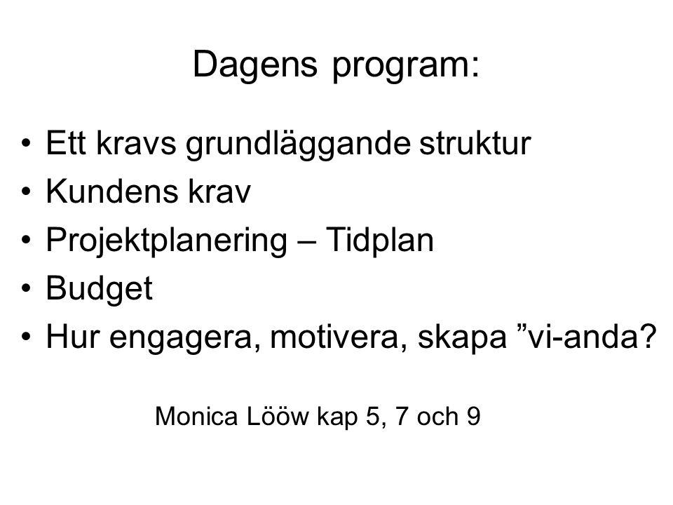 """Dagens program: Ett kravs grundläggande struktur Kundens krav Projektplanering – Tidplan Budget Hur engagera, motivera, skapa """"vi-anda? Monica Lööw ka"""