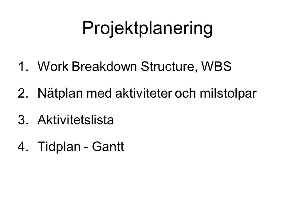 Projektplanering 1.Work Breakdown Structure, WBS 2.Nätplan med aktiviteter och milstolpar 3.Aktivitetslista 4.Tidplan - Gantt
