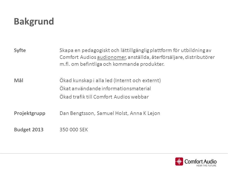 Bakgrund SyfteSkapa en pedagogiskt och lättillgänglig plattform för utbildning av Comfort Audios audionomer, anställda, återförsäljare, distributörer