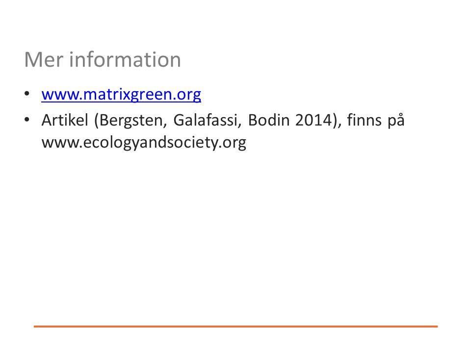 Mer information www.matrixgreen.org Artikel (Bergsten, Galafassi, Bodin 2014), finns på www.ecologyandsociety.org