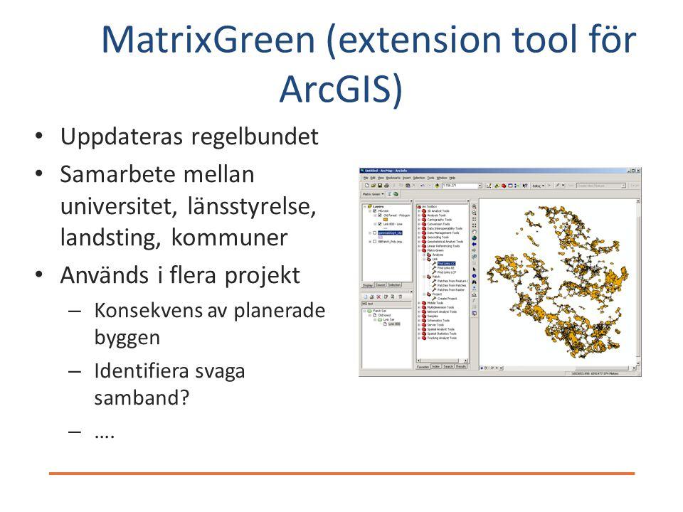 MatrixGreen (extension tool för ArcGIS) Uppdateras regelbundet Samarbete mellan universitet, länsstyrelse, landsting, kommuner Används i flera projekt – Konsekvens av planerade byggen – Identifiera svaga samband.