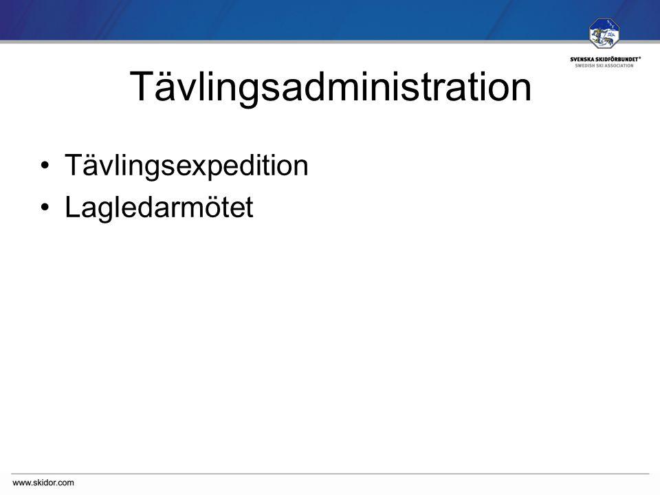 SVENSKA SKIDFÖRBUNDET Tävlingsadministration Tävlingsexpedition Lagledarmötet
