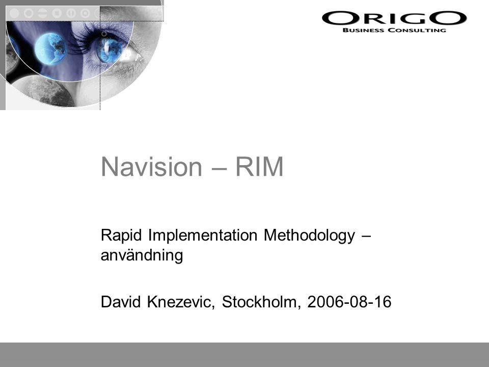 Agenda Introduktion Grunderna i RIM Hur sälja in RIM Hur använda RIM i projekt - praktiska exempel Avslutning