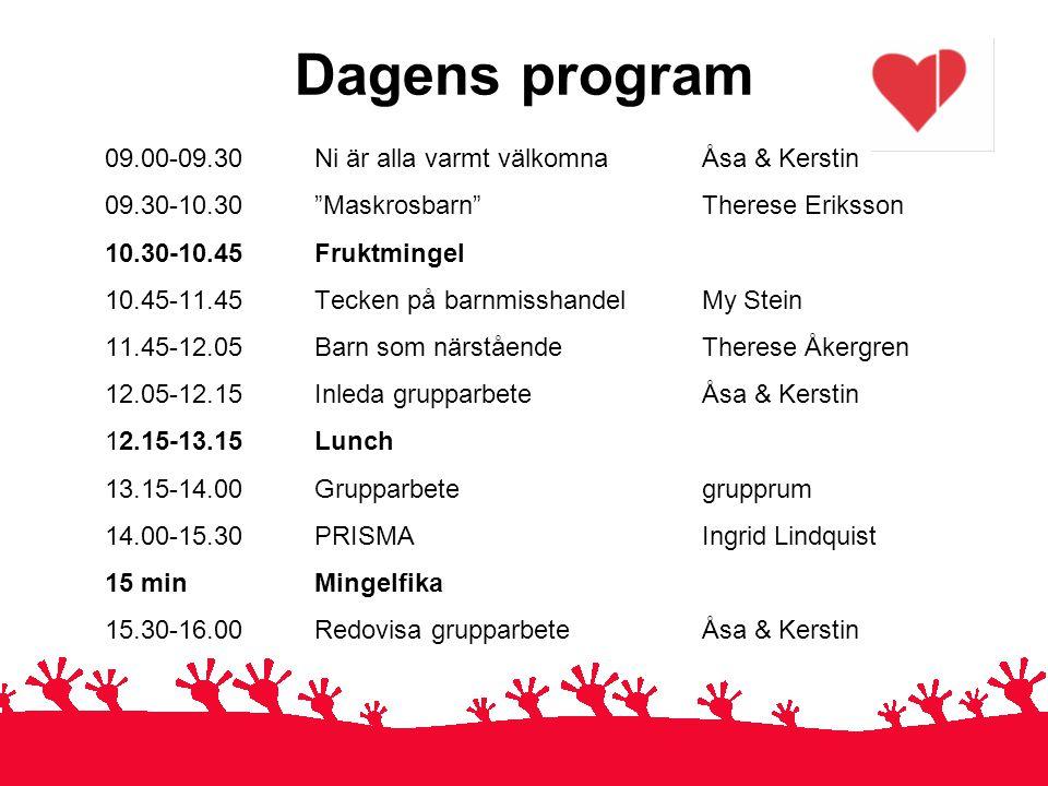 """Dagens program 09.00-09.30 Ni är alla varmt välkomna Åsa & Kerstin 09.30-10.30 """"Maskrosbarn"""" Therese Eriksson 10.30-10.45Fruktmingel 10.45-11.45Tecken"""