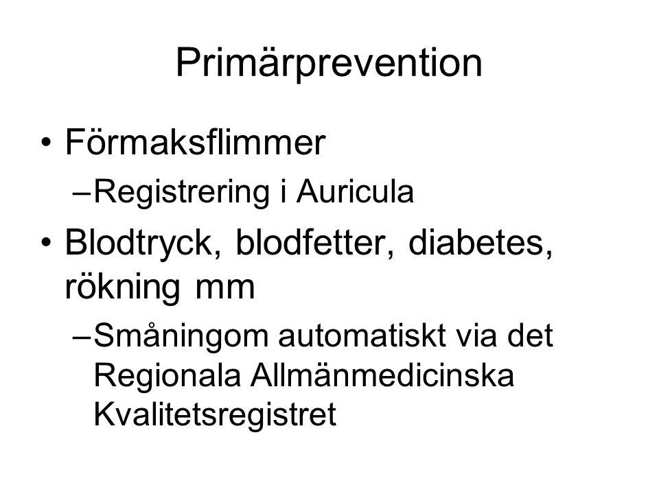 Primärprevention Förmaksflimmer –Registrering i Auricula Blodtryck, blodfetter, diabetes, rökning mm –Småningom automatiskt via det Regionala Allmänmedicinska Kvalitetsregistret