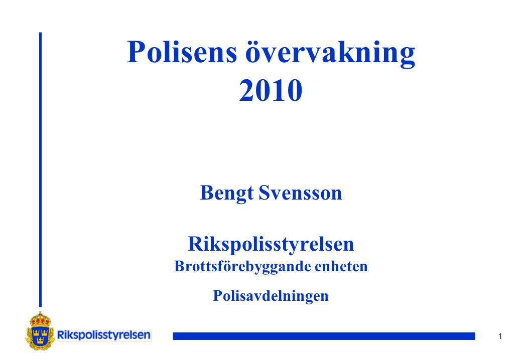 1 Polisens övervakning 2010 Bengt Svensson Rikspolisstyrelsen Brottsförebyggande enheten Polisavdelningen