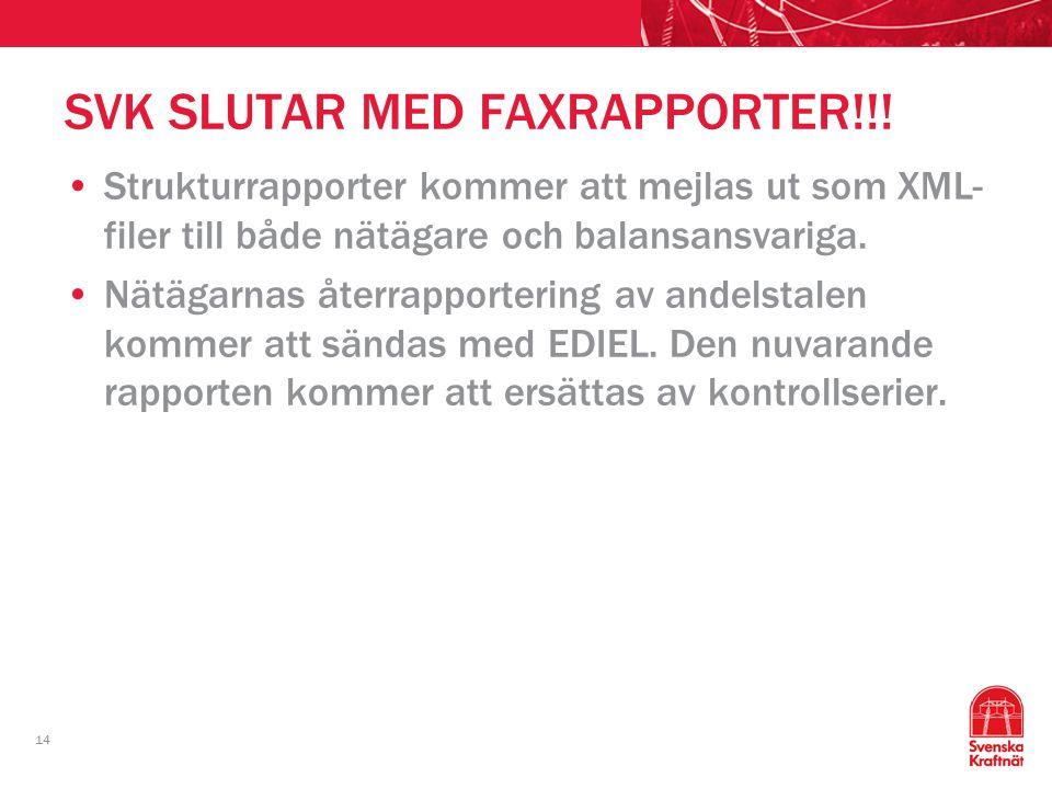 14 SVK SLUTAR MED FAXRAPPORTER!!! Strukturrapporter kommer att mejlas ut som XML- filer till både nätägare och balansansvariga. Nätägarnas återrapport