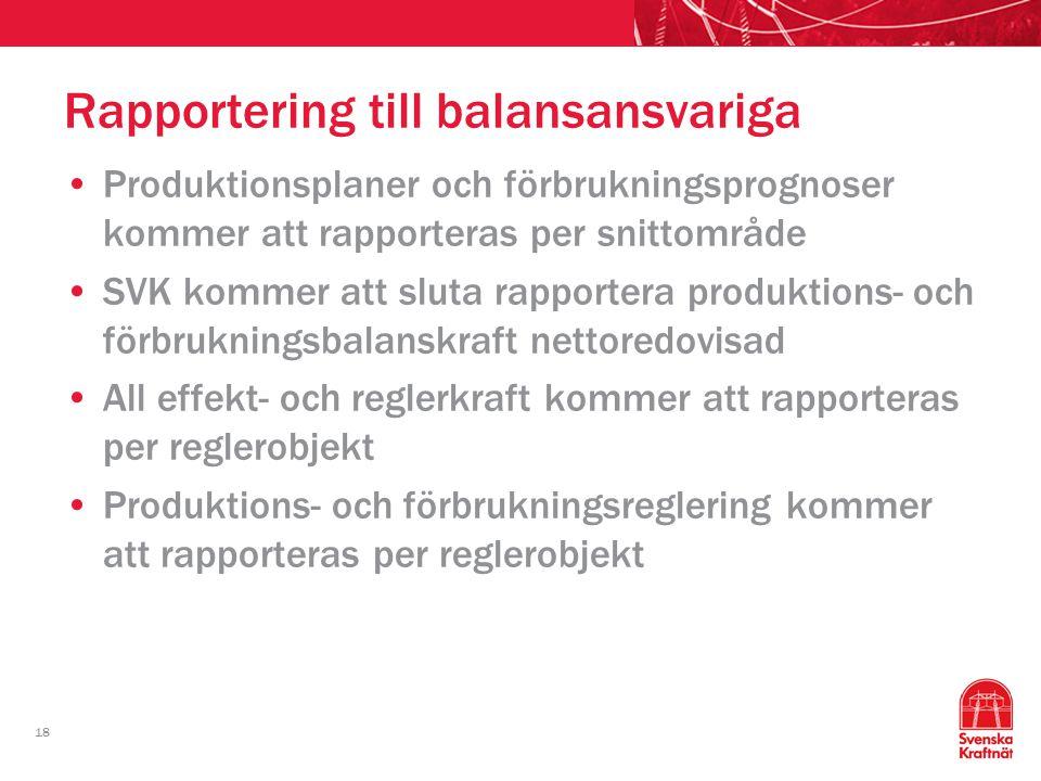 18 Rapportering till balansansvariga Produktionsplaner och förbrukningsprognoser kommer att rapporteras per snittområde SVK kommer att sluta rapporter
