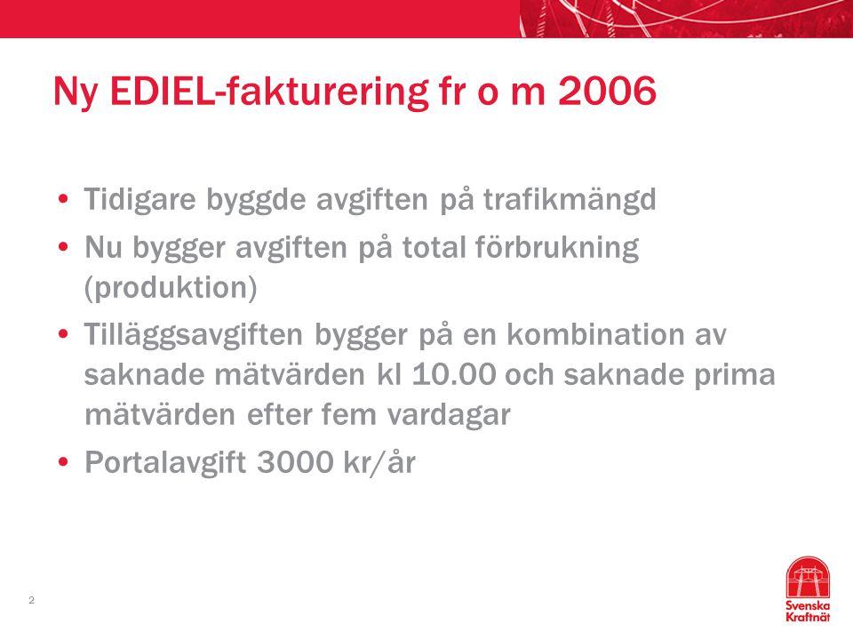 2 Ny EDIEL-fakturering fr o m 2006 Tidigare byggde avgiften på trafikmängd Nu bygger avgiften på total förbrukning (produktion) Tilläggsavgiften bygge