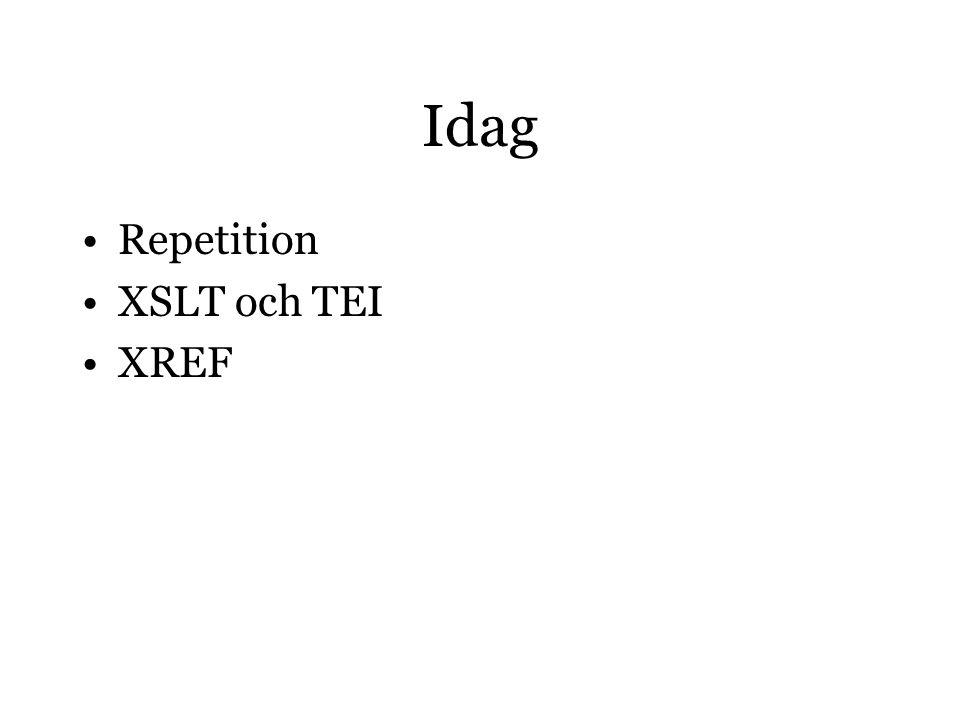 Idag Repetition XSLT och TEI XREF