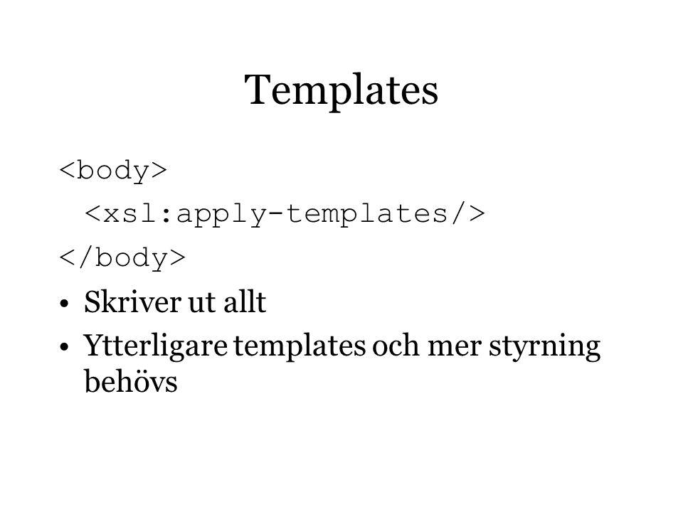 Templates Skriver ut allt Ytterligare templates och mer styrning behövs