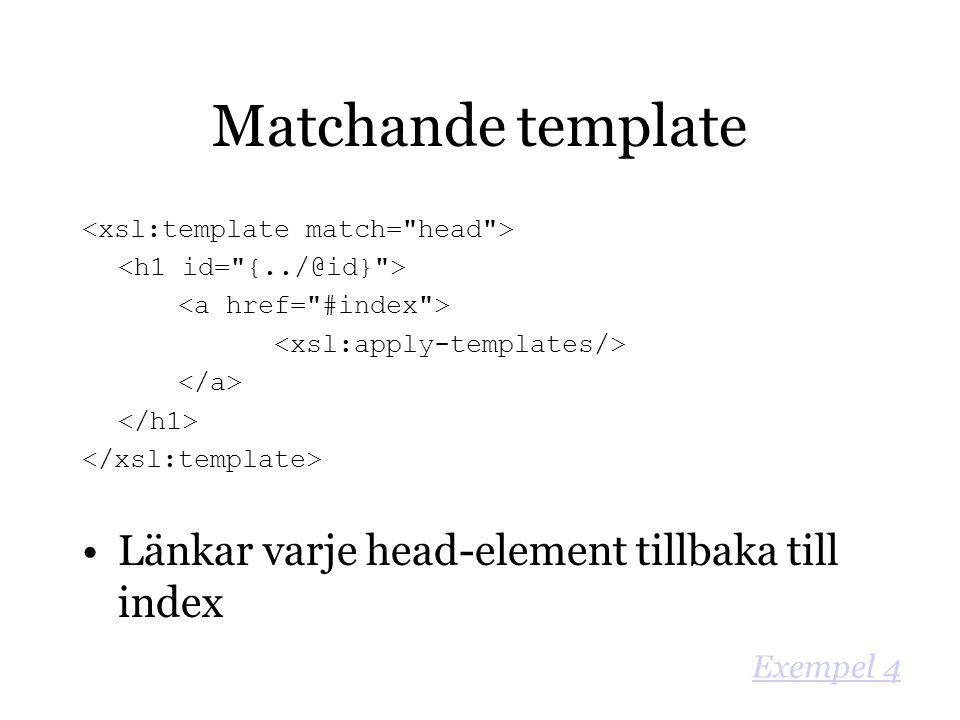 Matchande template Länkar varje head-element tillbaka till index Exempel 4