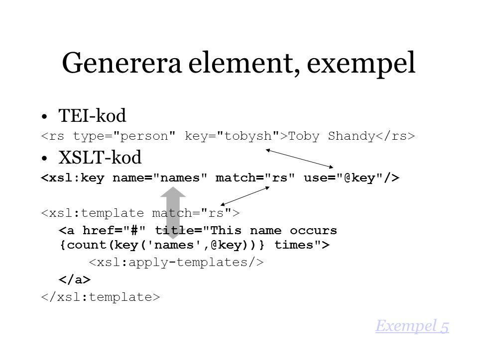 TEI-kod Toby Shandy XSLT-kod Generera element, exempel Exempel 5