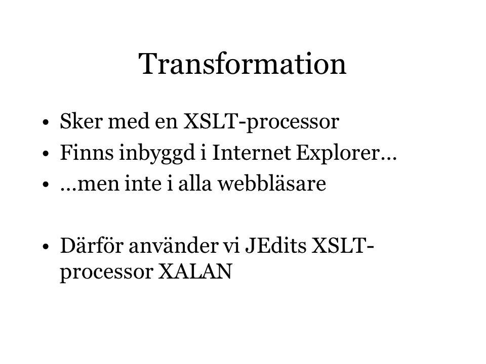 ref TEI Go to preface XSLT Go to Nackdel med denna variant är att man infogar text som inte hör till originalkällan